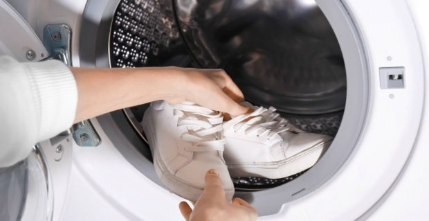 Leather shoes in washing machine